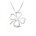 Four Leaf Clover Swiss Crystal Sterling Silver Pendant Necklace Only $3.69 + FREE Shipping!