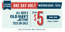 Old Navy: $10 Women's Chambray Shirts+ All Men's Activewear Tops from $5 TODAY ONLY