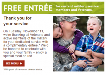 Free Meal at Olive Garden for Active Military and Veterans!