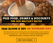 FREE Bloomin' Onion & Drink at Outback Steakhouse for Military & Veterans!