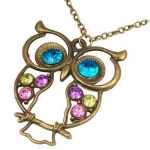 Retro Colorful Crystal Owl Pendant Necklace Only $1.33 Shipped!