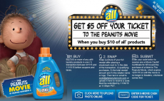 $5 Off The Peanuts Movie Ticket in November With All Liquid Detergent Purchase!