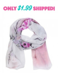 Peony Flower Print Soft Chiffon Scarf Only $1.99 Shipped!