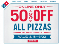 Domino's: Save 50% Off Regularly Prized Pizza Online!