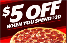 Save $5 off of a $20 Order from Pizza Hut!