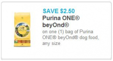 New High Value $2.50/1 Purina One Beyond Dog Food Coupon!