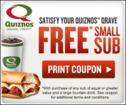 3 Quiznos Printable Coupons including Free Sub!