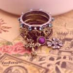 Unique Vintage Antiqued Rhinestone Clover Cross Stackable Rings Only $1.59 Shipped!