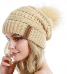 QUEENFUR Women Knit Slouchy Beanie Chunky Baggy Hat with Faux Fur$6.79 (REG $12.99)