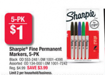 FREE 5-Pack of Sharpie Markers at Office Depot!