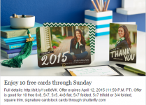 Shutterfly Freebie Offers: 10 FREE Customized Cards- Just Pay Shipping!