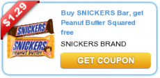 Buy Snickers Bar, get Peanut Butter Squared free Coupon