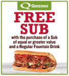 FREE Quiznos Sub With Purchase of Sub & Regular Fountain Drink Coupon!