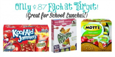 HOT! Kool-Aid Jammers, Betty Crocker Fruit Snacks, and Mott's Snack & Go Applesauce Only $.87 Each at Target!