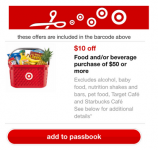 Target Coupon: $10 Off $50 Food & Beverage Purchase!