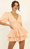I Want It All Playsuit In Peach Embroidery-$24.64(62% Off)
