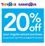 Toys R Us/Babies R Us: 20% off In-Stores or Online Coupon