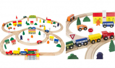 Hand Crafted 100 pc Wooden Train Set Just $36.99! Normally $89.99!