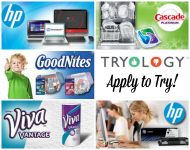 Tryology: Apply to Try Goodnites, Cascade, Viva, and HP!