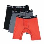Reebok Men's Performance Long Leg Boxer Briefs 3-Pack for $12 (REG$30)