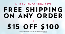 Victoria's Secret: FREE Shipping on Every Order + $15 off of $100-Until 11PM EST Only!